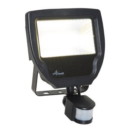 Ansell LED PIR Floodlight 20W Cool White Black