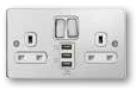 Deta 8174CHW Switched Socket 2G 13A Chrome + 3 USB Ports