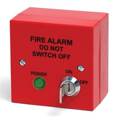 Red Fire Alarm Mains Isolator c/w keyswitch