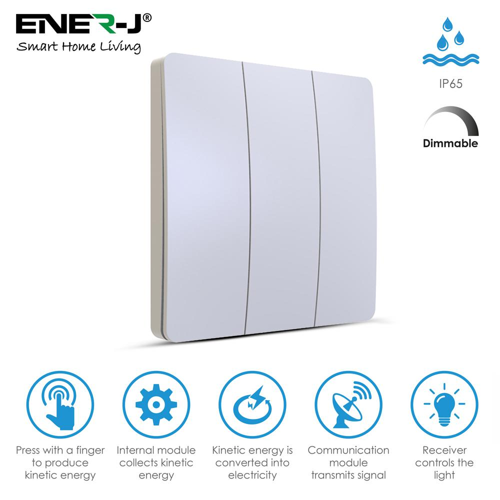 ENER-J WS1035 Pro Series Wireless Dimmable 3 Gang Kinetic Switch