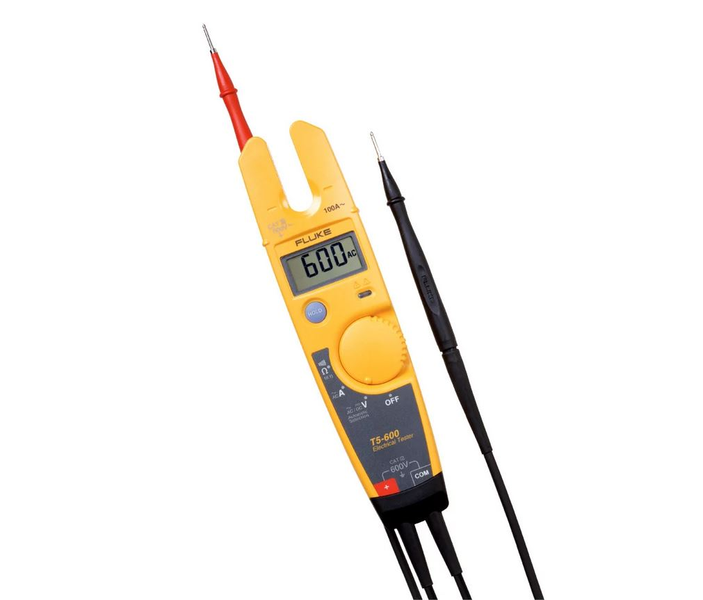 Fluke T5-600 600V Voltage, Continuity and Current Electrical Tester with OpenJaw? Current