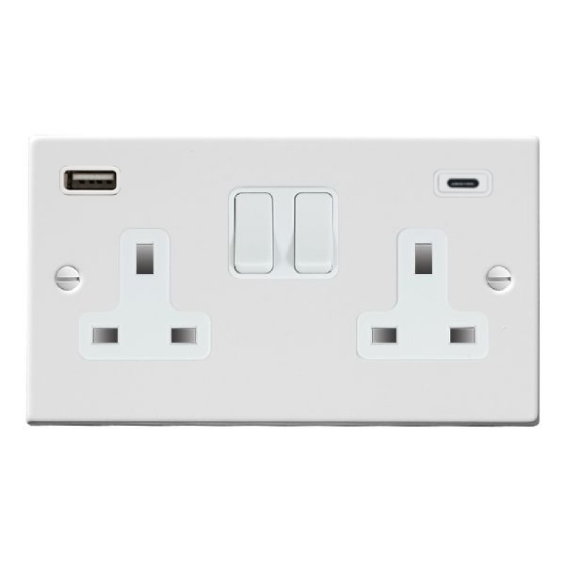 Hamilton Hartland Gloss White 70SS2USBCWH-W Switched Double Socket USB+C 2G DP Wh/Wh