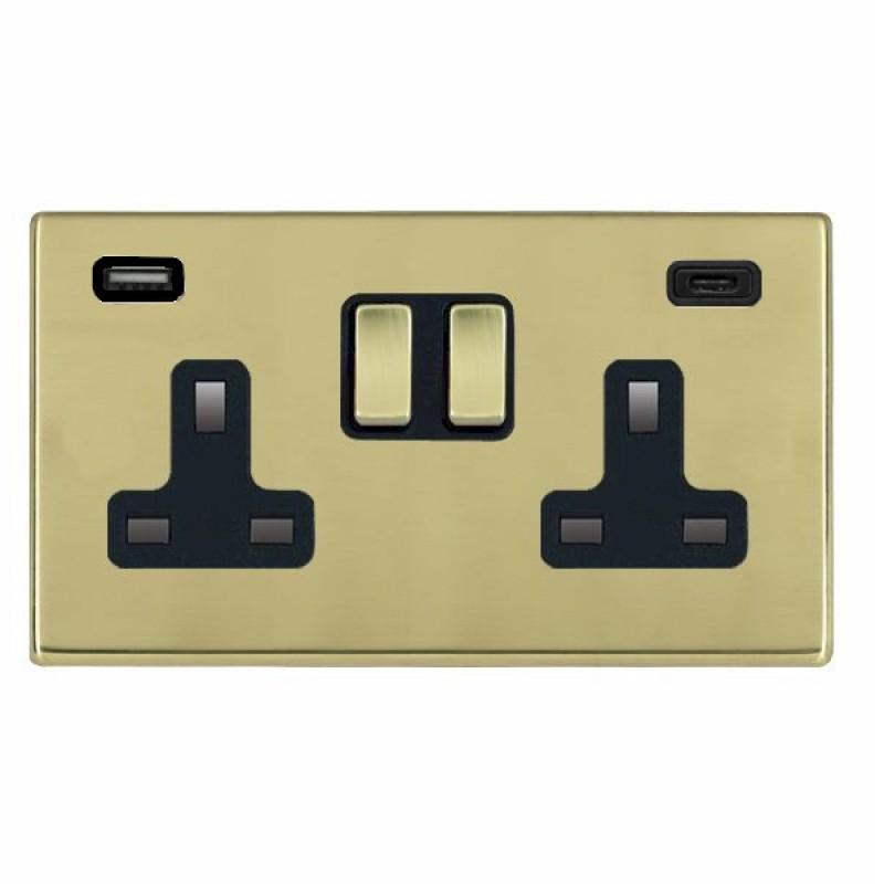 Hamilton Hartland CFX Polished Brass 71CSS2USBCPB-B Switched Double Socket USB+C 2G DP PB/Bk