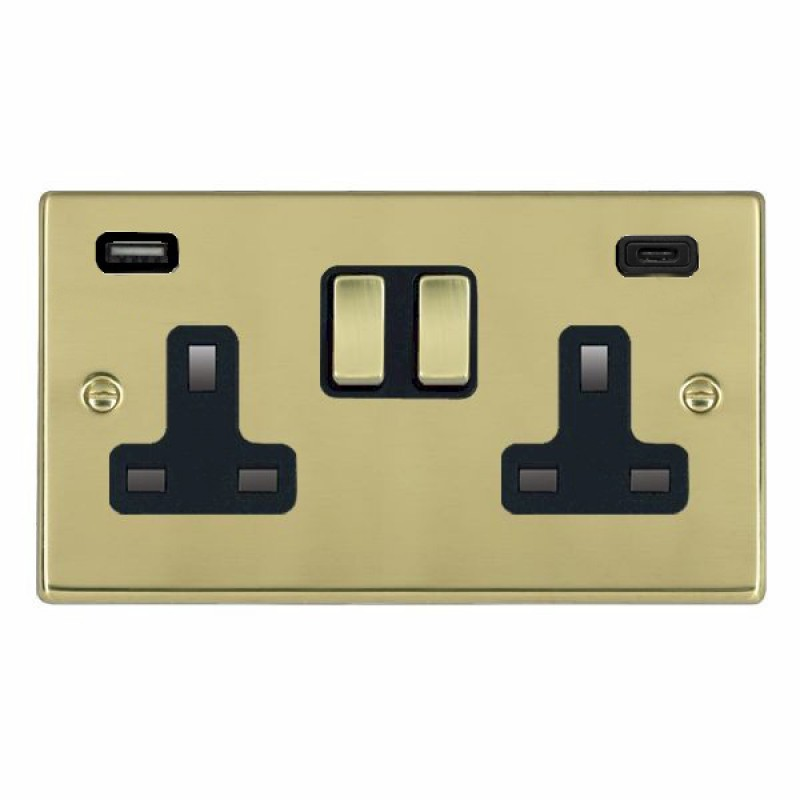 Hamilton Hartland Polished Brass 71SS2USBCPB-B Switched Double Socket USB+C 2G DP PB/Bk