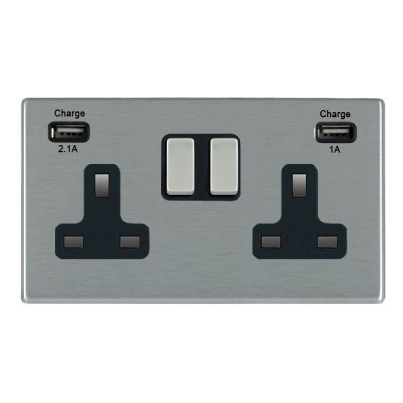 Hamilton Hartland CFX Satin Stainless 2 Gang 13A Socket and USB Chargers with Satin Stainless Inserts + Black Surround
