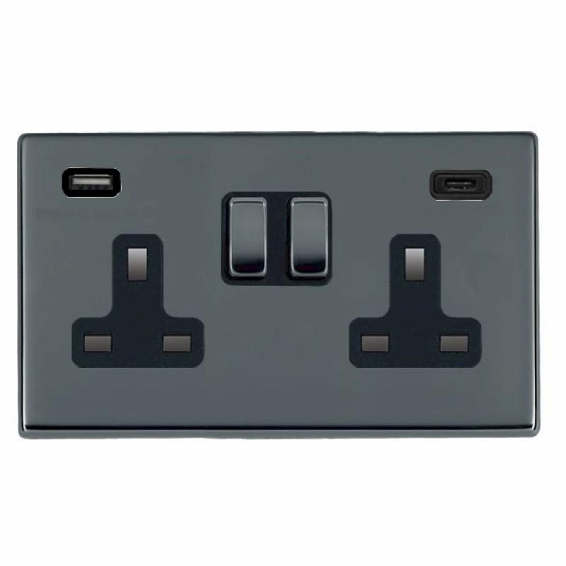 Hamilton Hartland CFX Black Nickel 78CSS2USBCBK-B Switched Double Socket USB+C 2G DP BN/Bk