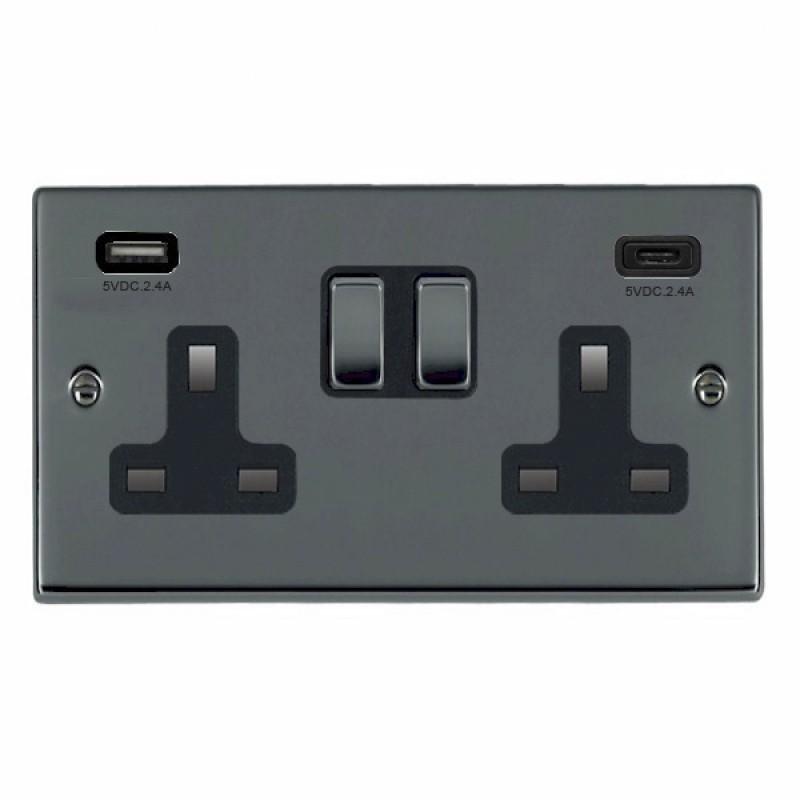 Hamilton Hartland Black Nickel 78SS2USBCBK-B Switched Double Socket USB+C 2G DP BN/Bk