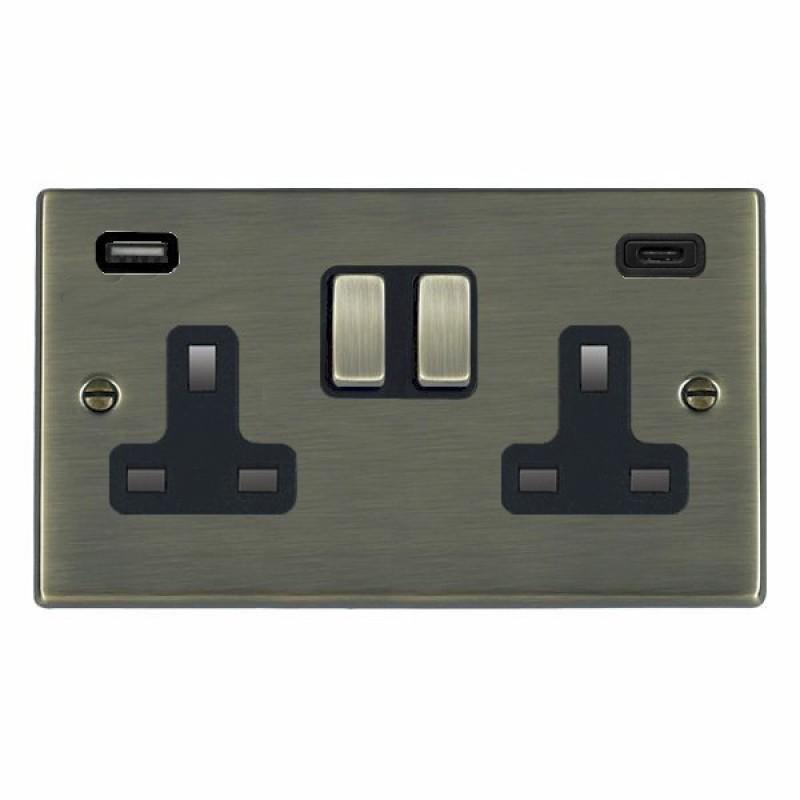 Hamilton Hartland Antique Brass 79SS2USBCAB-B Switched Double Socket USB+C 2G DP AB/Bk