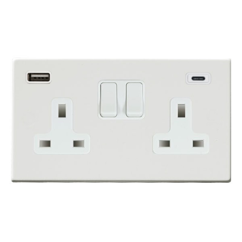 Hamilton Hartland CFX Primed White 7WPCSS2USBCWH-W Switched Double Socket USB+C 2G DP Wh/Wh