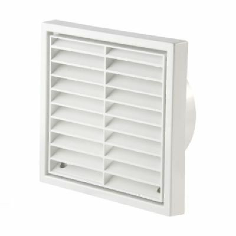 """Manrose Primero Fixed Wall Grille 100mm/4"""", in White"""