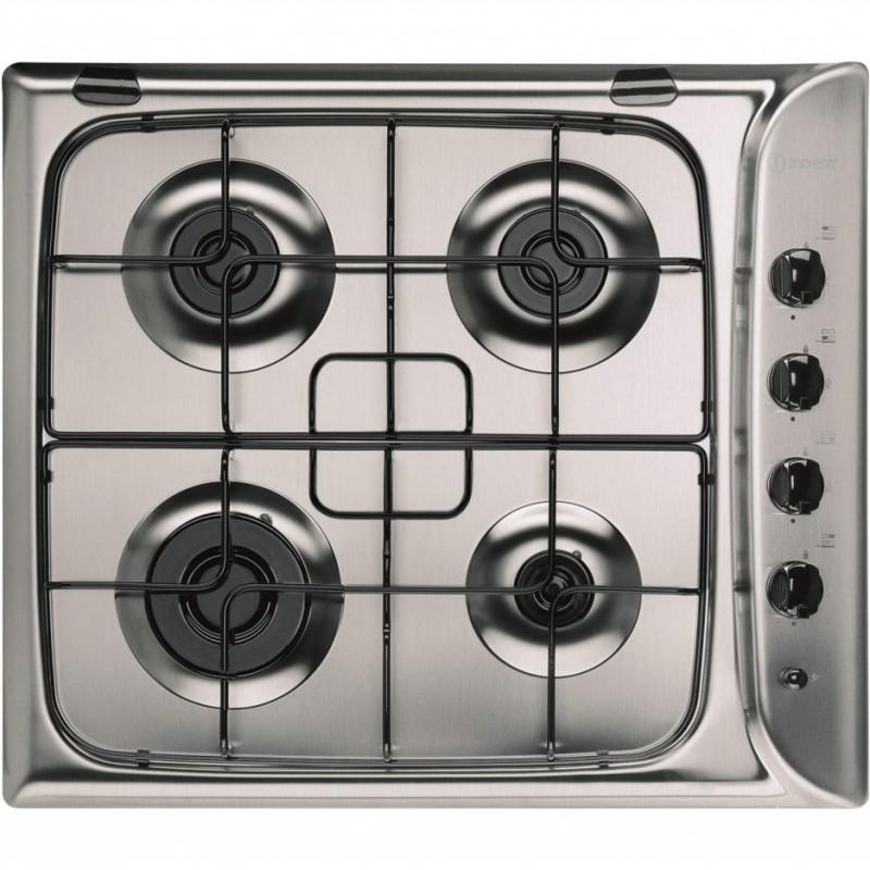Indesit PIM640ASIX 60cm 4 Burner Gas Hob - Stainless Steel - 1 Only