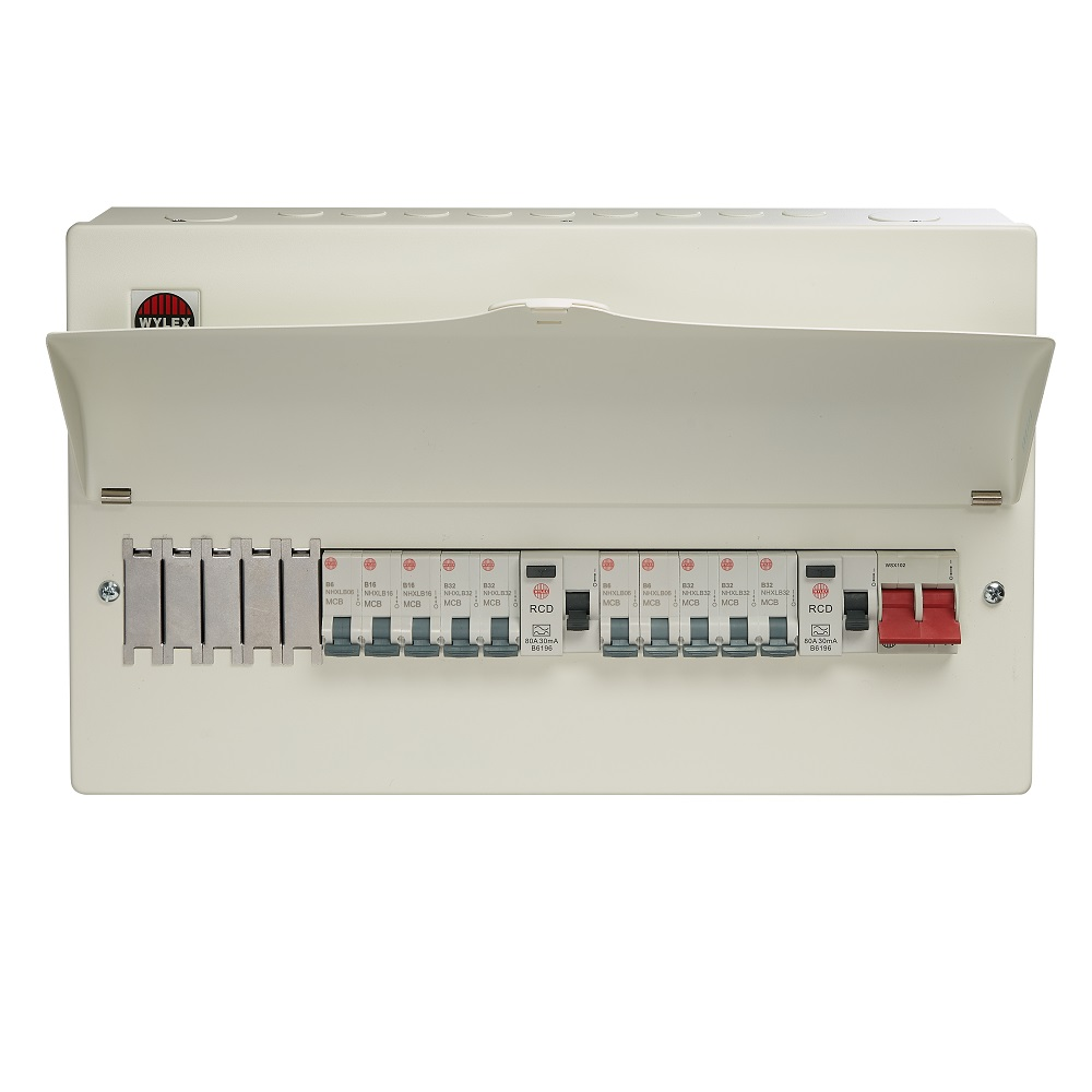 Wylex 18th Edition 15 Way Dual RCD Consumer Unit c/w 100A DP Main Switch & 2 x 80A DP 30mA RCD