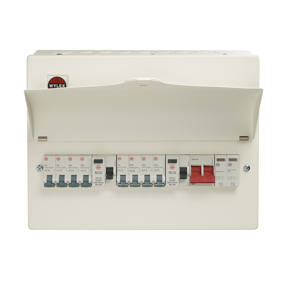 Wylex 18th Edition 8 Way High Integrity+Type 2 SPD Flexible Busbar Consumer Unit Loaded with 8 MCBs