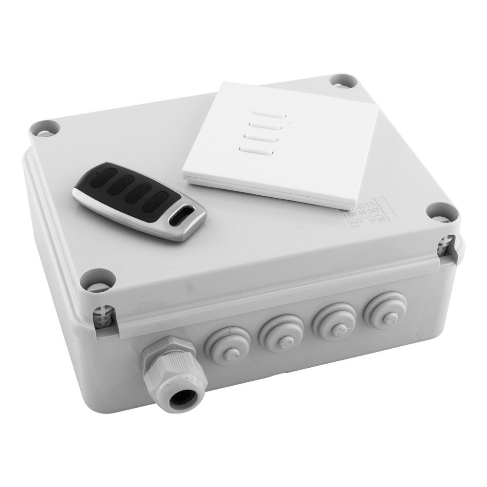 4 Channel Wireless C/W Style Switch & Remote 250M Range IP56 Rated