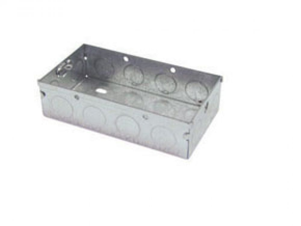 2 Gang Galvanised Steel 25mm Deep Back Box