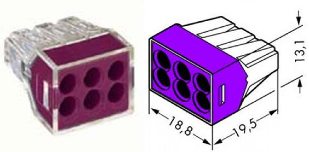 Wago 2.5mm 6 Pole (Violet) Push Wire Cable Connector (Pack of 20)