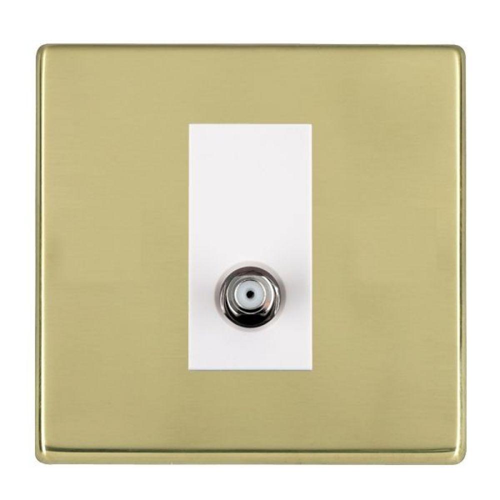 Hamilton Hartland CFX Polished Brass 1 Gang Non Isolated Satellite Socket with White Inserts