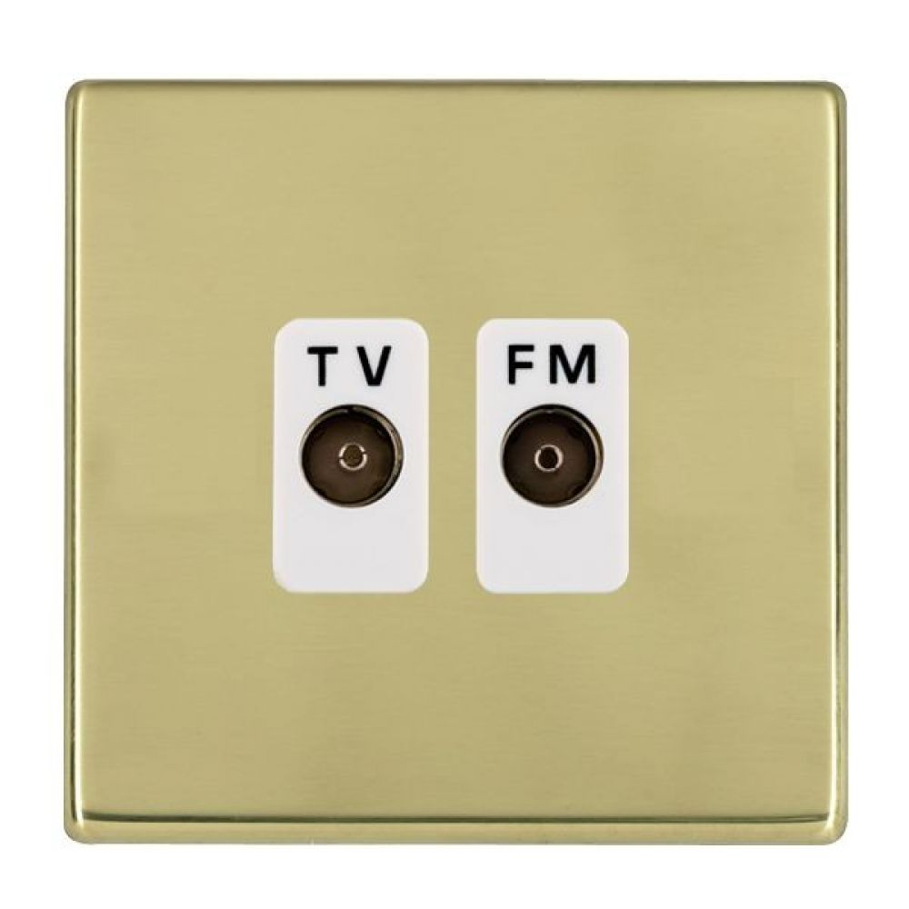 Hamilton Hartland CFX Polished Brass Isolated TV/FM Diplexer 1 In/2 Out with White Inserts