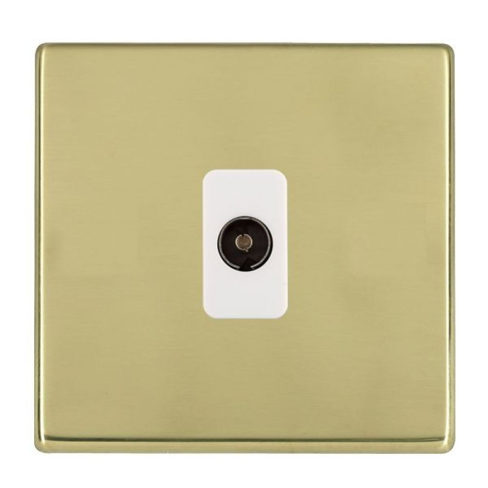 Hamilton Hartland CFX Polished Brass 1 Gang Non Isolated TV 1 In/1 Out Socket with White Inserts
