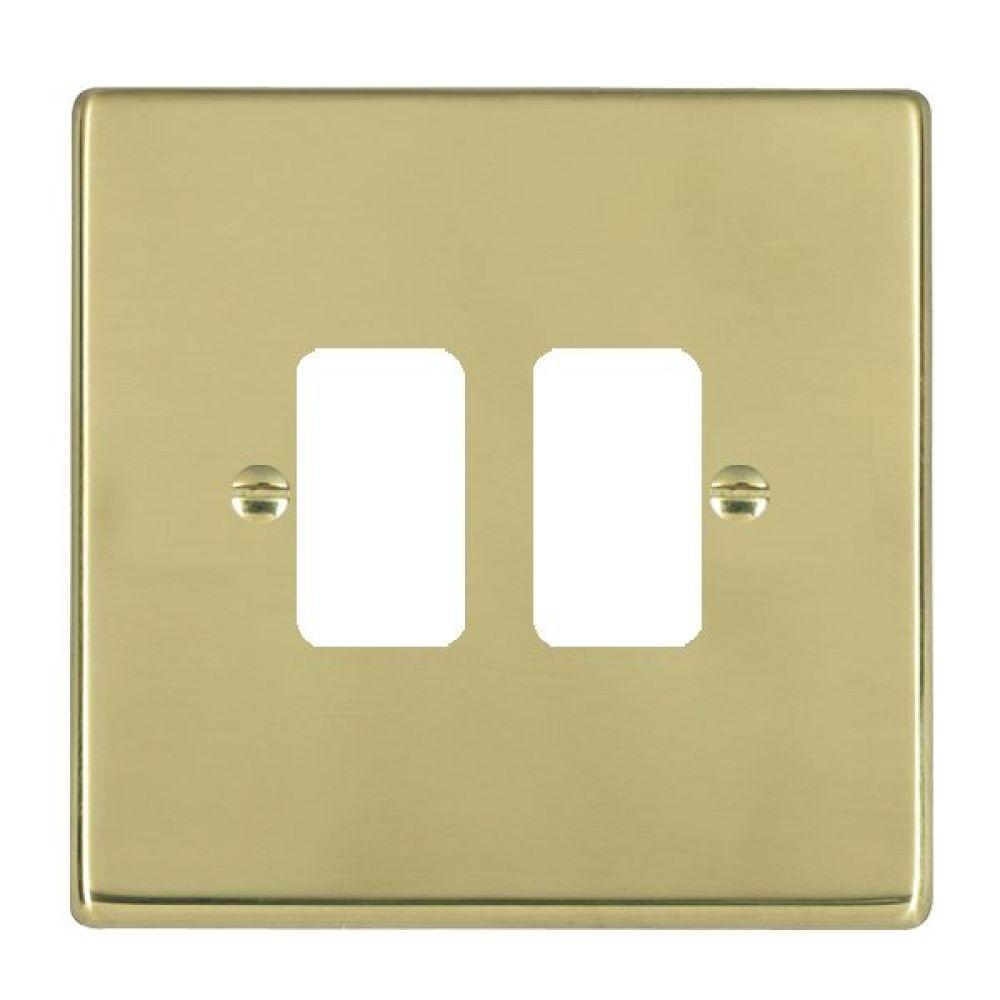 Hamilton Hartland Polished Brass 2 Gang Aperture Grid Fix Plate
