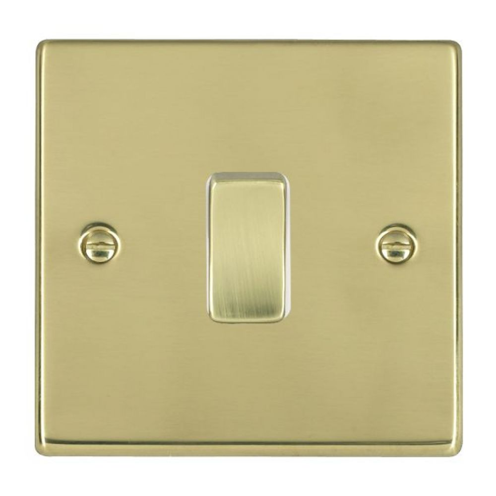 Hamilton Hartland Polished Brass 1 Gang 10AX 2W Rocker Switch with Polished Brass Inserts and White Surrounds