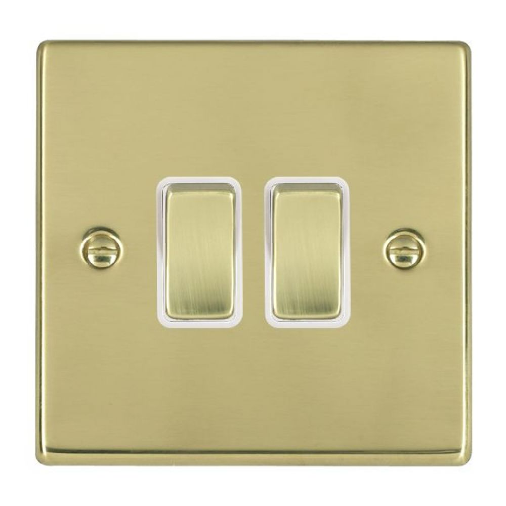 Hamilton Hartland Polished Brass 2 Gang 10AX 2W Rocker Switch with Polished Brass Inserts and White Surrounds