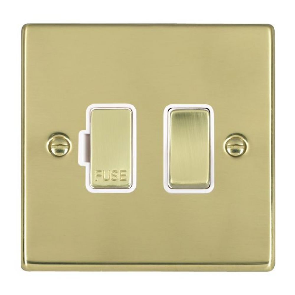 Hamilton Hartland Polished Brass 1 Gang 13A Double Pole Fused Spur with Polished Brass Inserts + White Surround