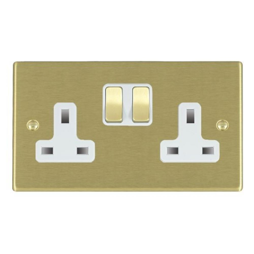 Hamilton Hartland Polished Brass 2 Gang 13A Double Pole Switched Socket with Polished Brass Inserts + White Surround