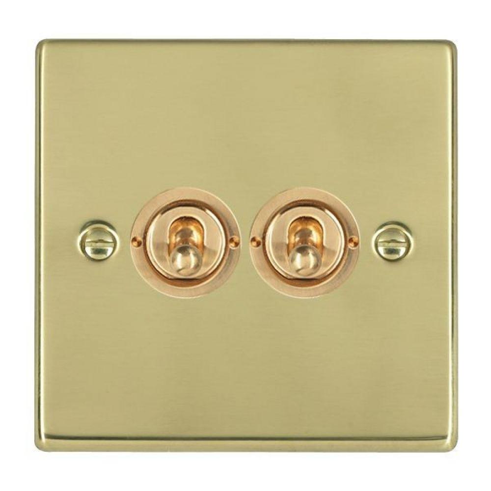 Hamilton Hartland Polished Brass 2 Gang 20AX 2 Way Toggle Switch