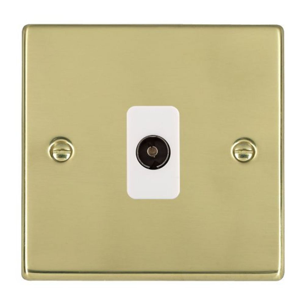 Hamilton Hartland Polished Brass 1 Gang Non Isolated TV 1 In/1 Out Socket with White Inserts