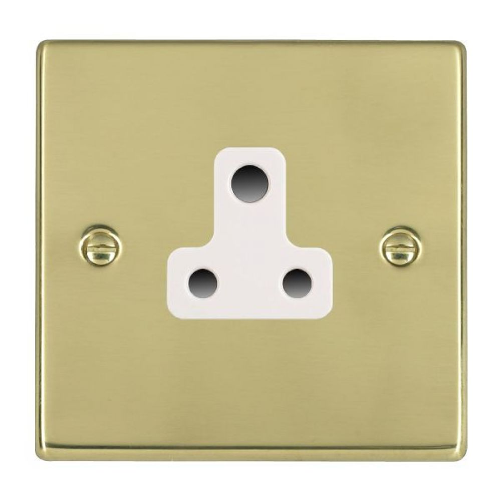 Hamilton Hartland Polished Brass 1 Gang 5A Unswitched Socket with White Plastic Inserts and White Surrounds