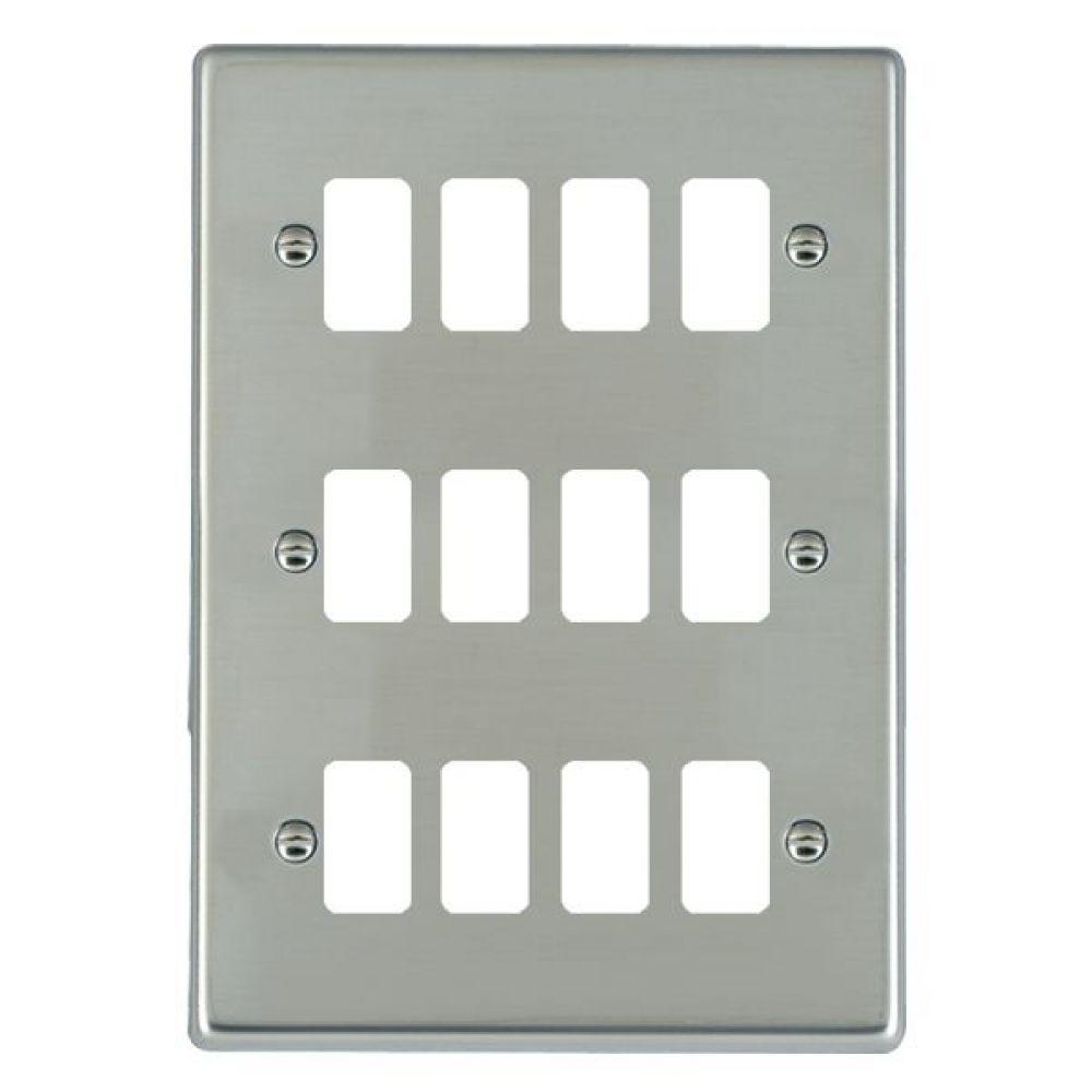 Hamilton Hartland Bright Stainless 12 Gang Aperture Grid Fix Plate