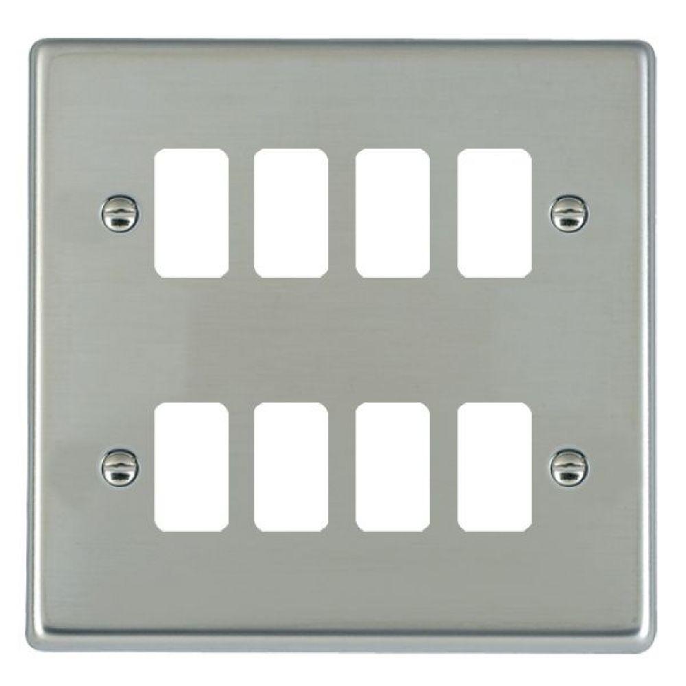 Hamilton Hartland Bright Stainless 8 Gang Aperture Grid Fix Plate