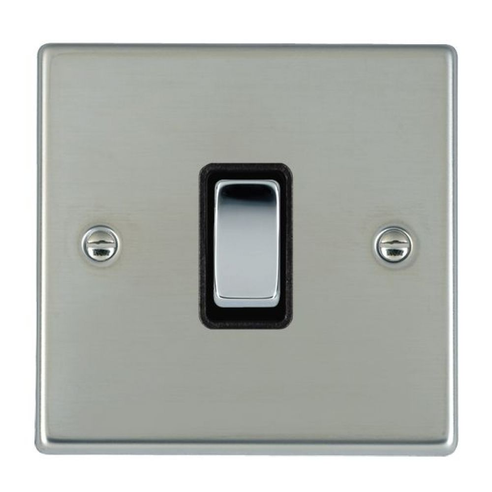 Hamilton Hartland Bright Stainless 1 Gang 10AX 2W Rocker Switch with Bright Chrome Inserts and Black Surround