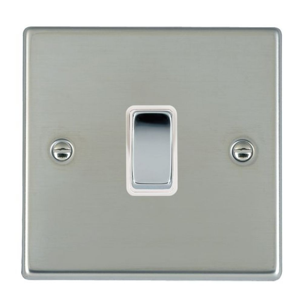 Hamilton Hartland Bright Stainless 1 Gang 10AX 2W Rocker Switch with Bright Chrome Inserts and White Surround