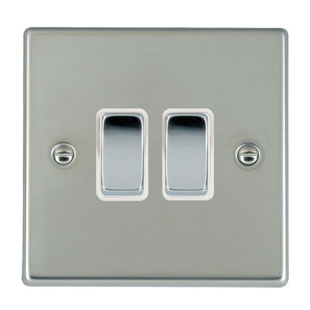 Hamilton Hartland Bright Stainless 2 Gang 10AX 2W Rocker Switch with Bright Chrome Inserts + White Surround