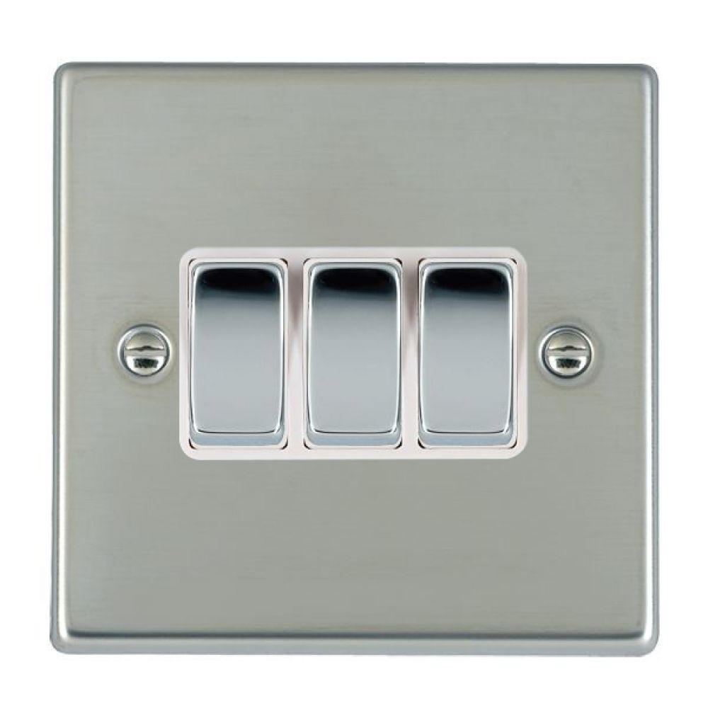 Hamilton Hartland Bright Stainless 3 Gang 10AX 2W Rocker Switch with Bright Chrome Inserts and White Surround