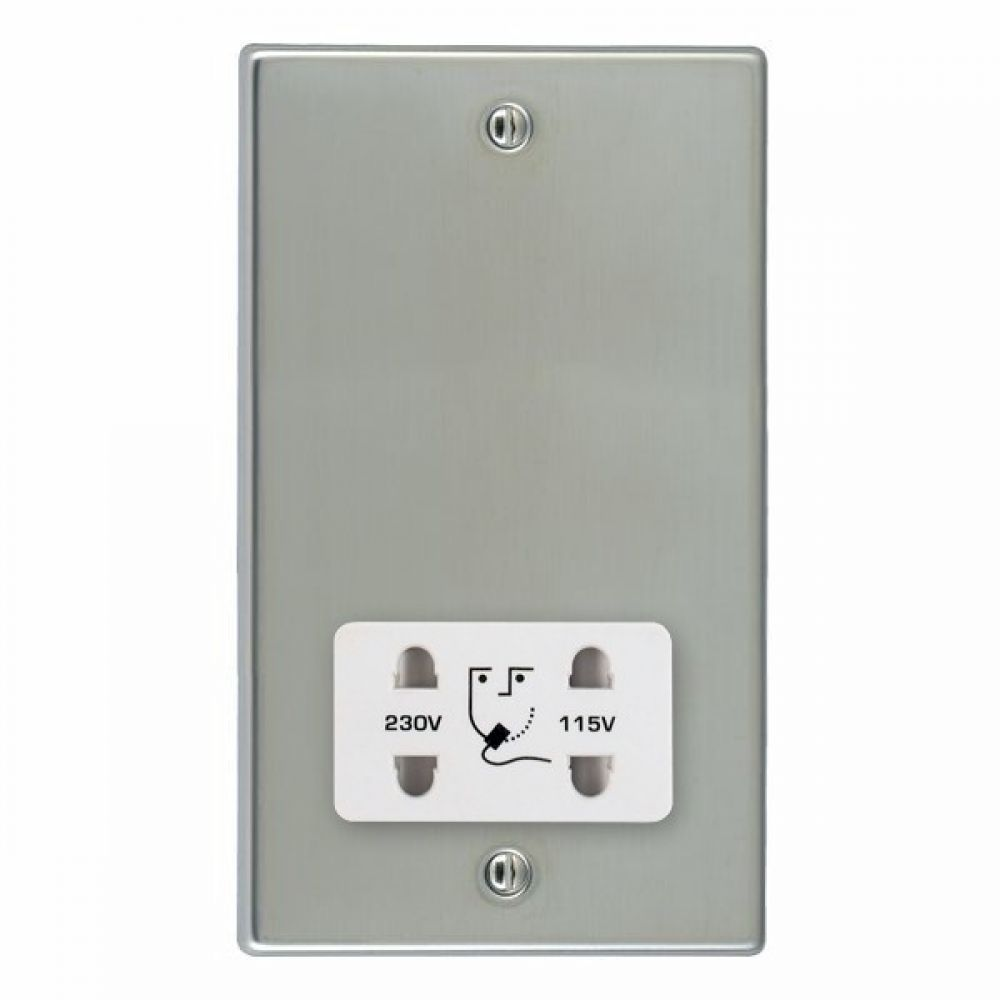 Hamilton Hartland Bright Stainless Shaver Dual Voltage Unswitched Socket with White Plastic Inserts