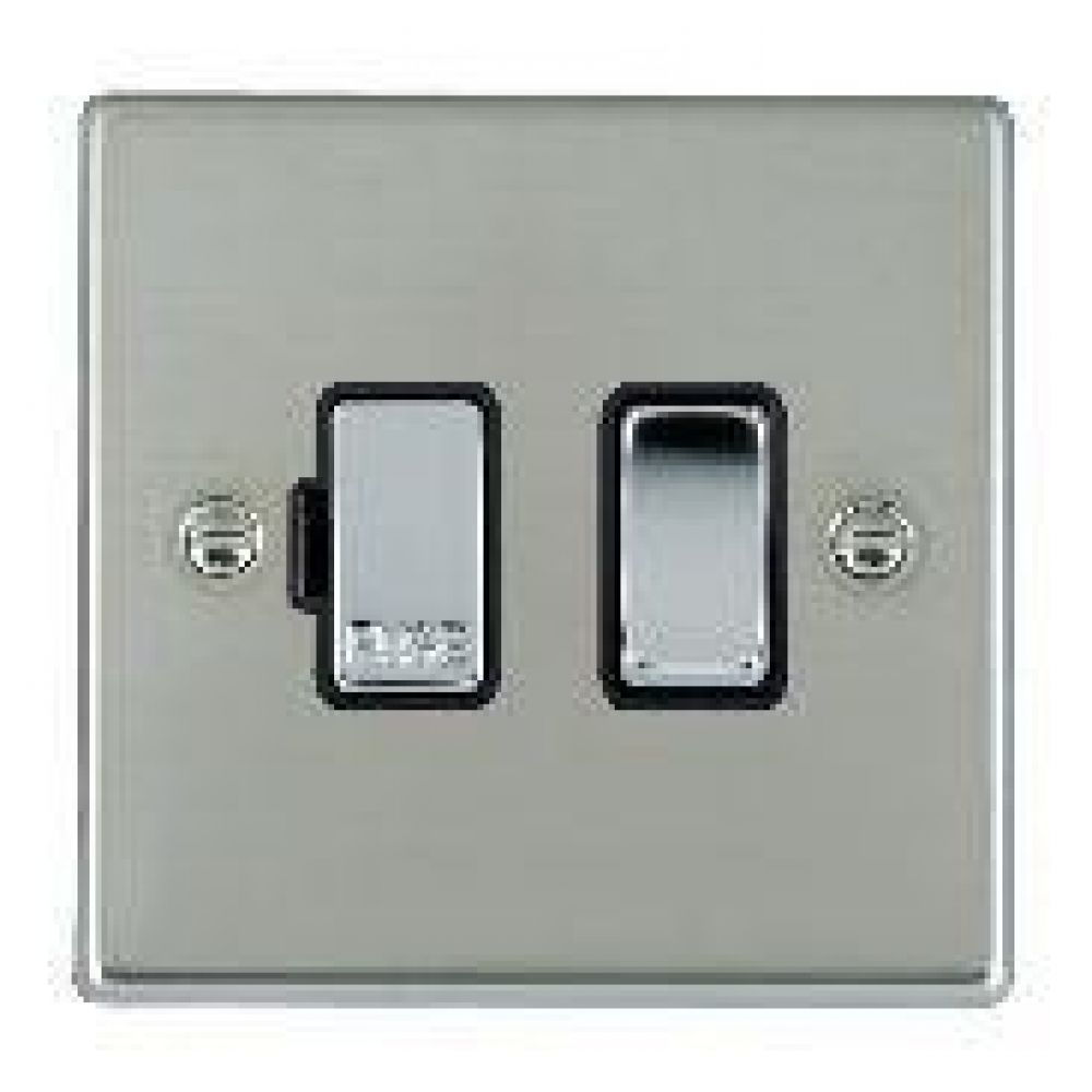 Hamilton Hartland Bright Stainless 1 Gang 13A Double Pole Fused Spur with Bright Chrome Inserts + Black Surround