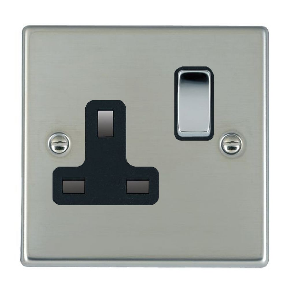 Hamilton Hartland Bright Stainless 1 Gang 13A Double Pole Switched Socket with Bright Chrome Inserts Black Surround