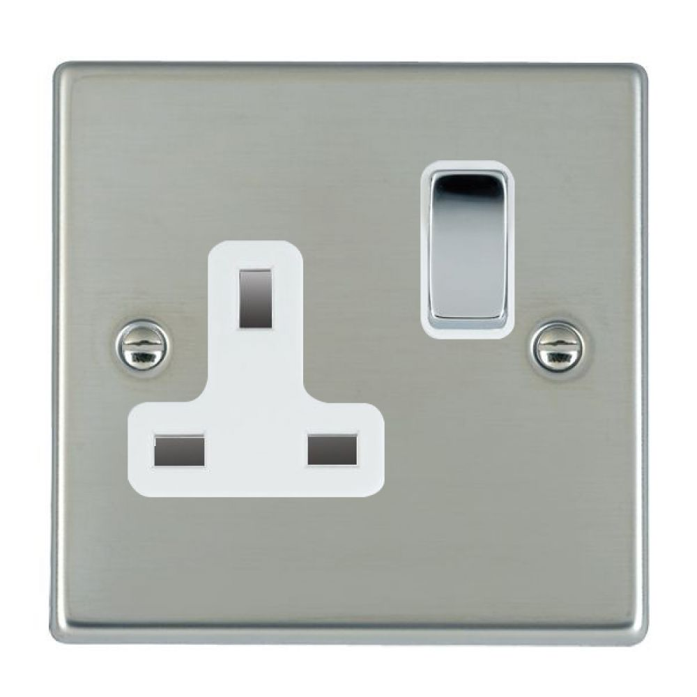 Hamilton Hartland Bright Stainless 1 Gang 13A DP Switched Socket with Bright Chrome Inserts + White Surround