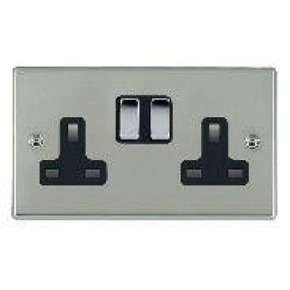 Hamilton Hartland Bright Stainless 2 Gang 13A Double Pole Switched Socket with Bright Chrome Inserts + Black Surround