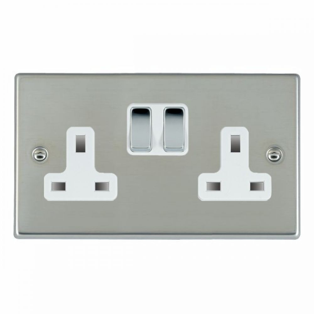 Hamilton Hartland Bright Stainless 2 Gang 13A Double Pole Switched Socket with Bright Chrome Inserts + White Surround