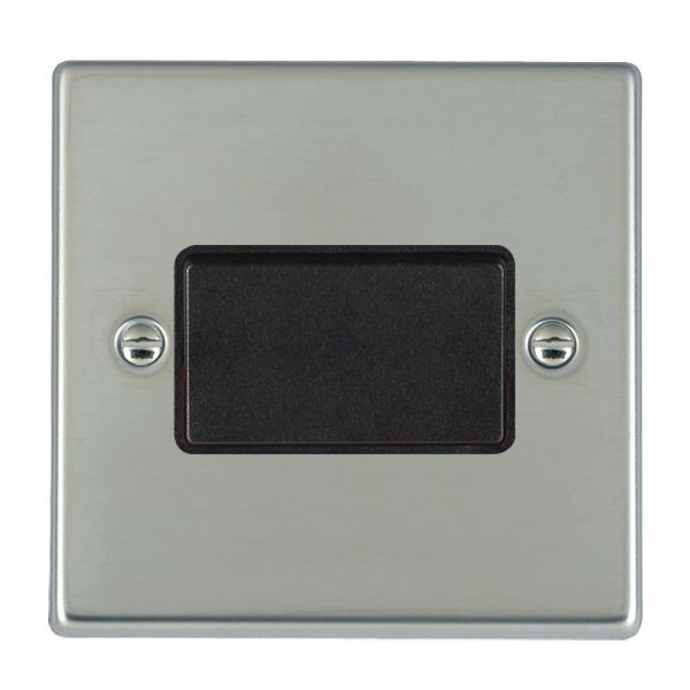 Hamilton Hartland Bright Stainless 1 Gang 10A Triple Pole Rocker Switch with Black Plastic Inserts + Black Surround