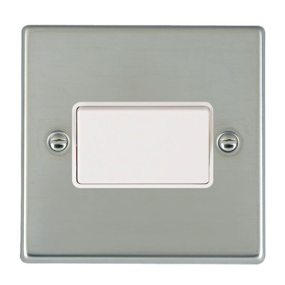 Hamilton Hartland Bright Stainless 1G 10A Triple Pole Rocker Switch with White Plastic Inserts + White Surround