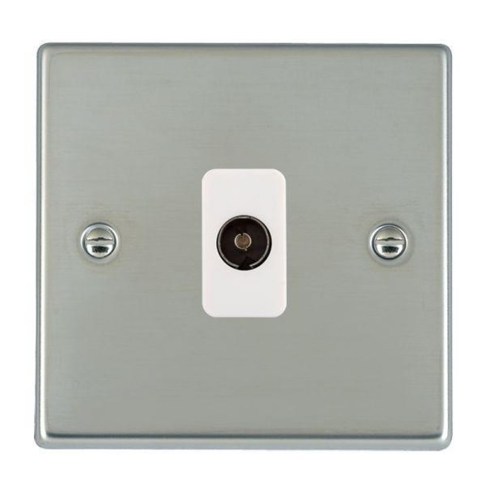 Hamilton Hartland Bright Stainless 1 Gang Non Isolated TV 1 In/1 Out Socket with White Inserts