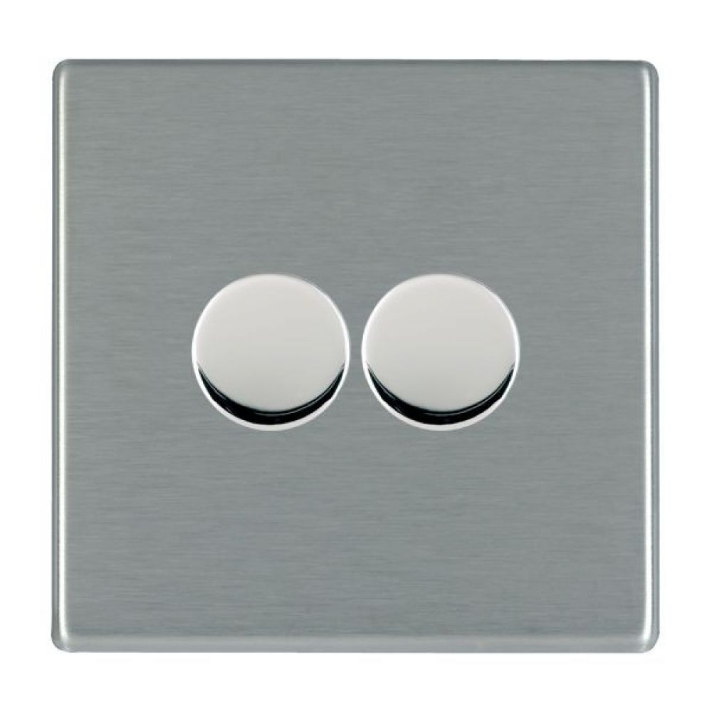 Hamilton Hartland CFX Satin Stainless 2 Gang 400W 2 Way Leading Edge Push On/Off Resitive Dimmer