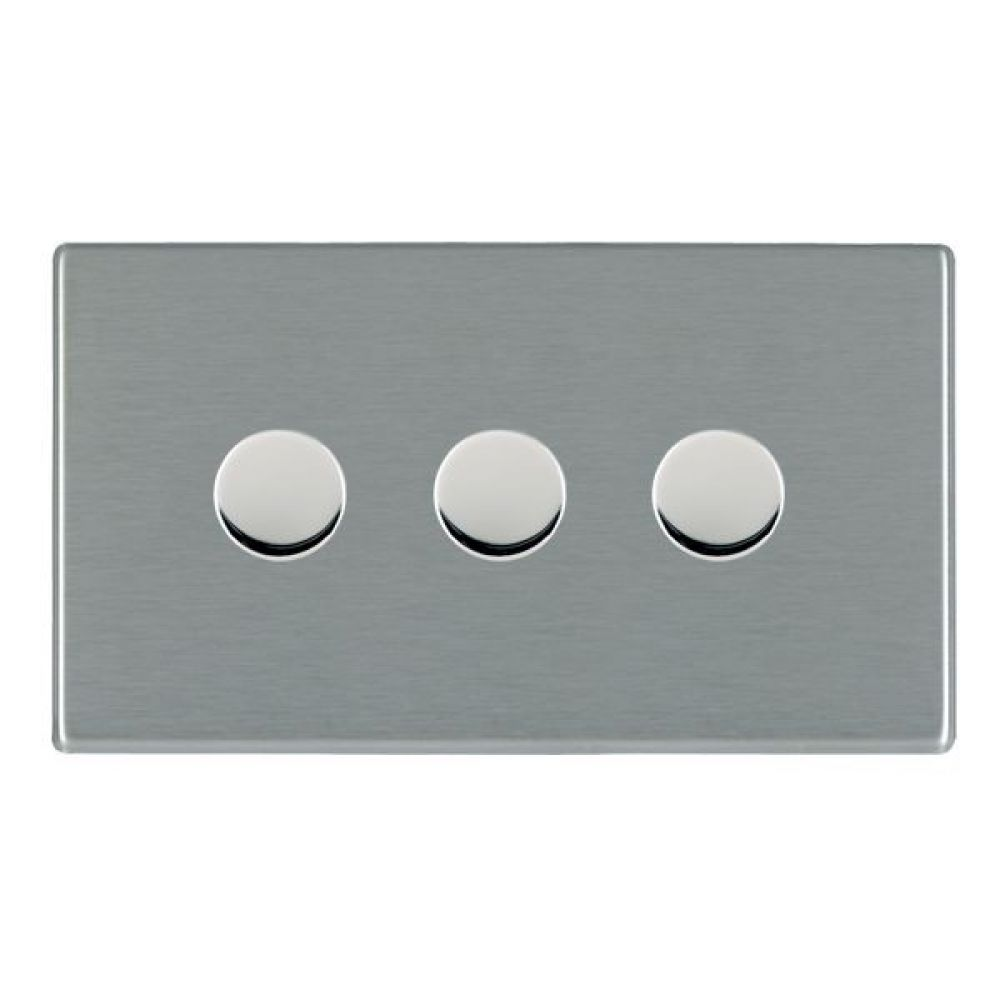Hamilton Hartland CFX Satin Stainless 3 Gang 400W 2 Way Leading Edge Push On/Off Resitive Dimmer