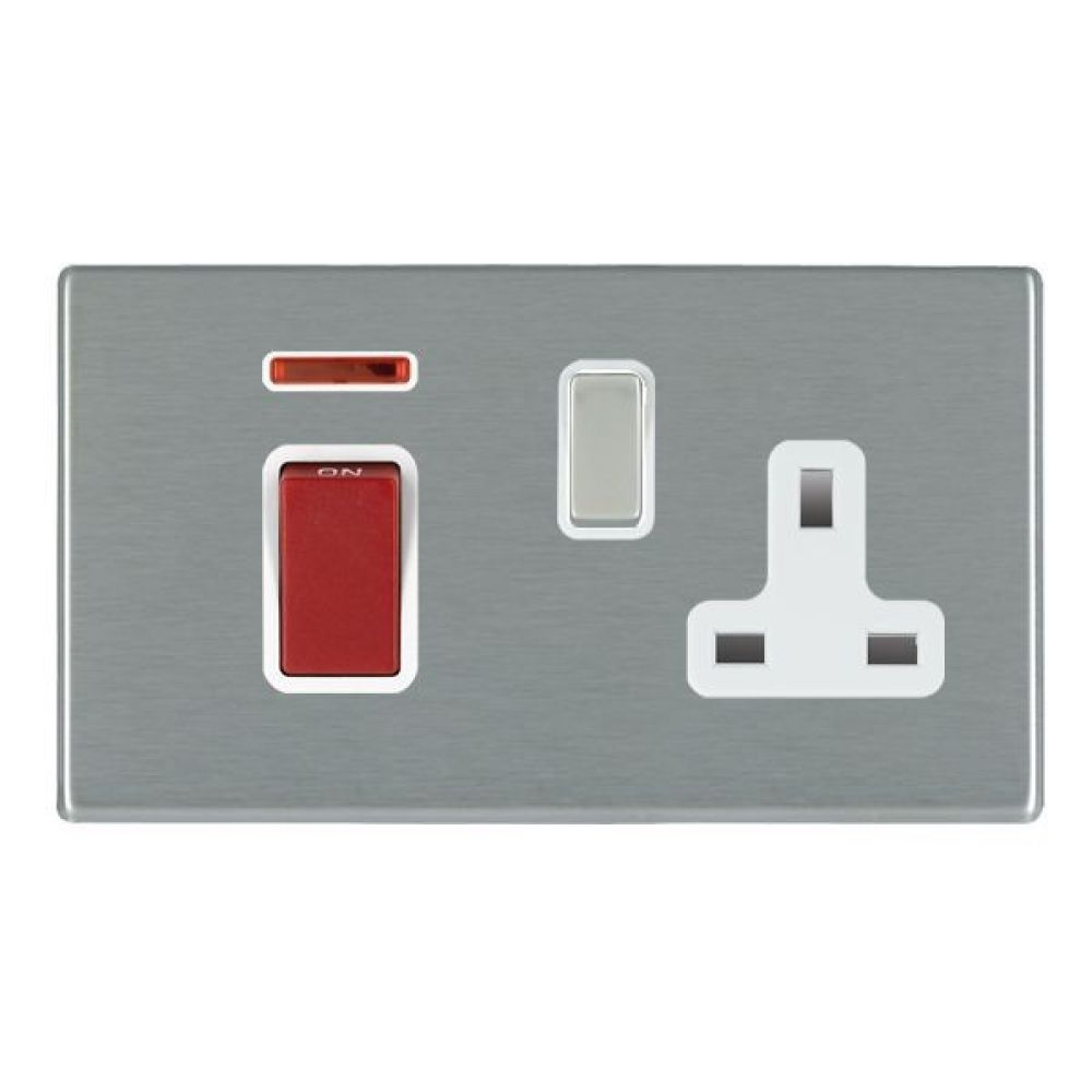 Hamilton Hartland CFX Satin Stainless 45A Double Pole Red Rocker + Neon + 13A Switched Socket with Satin Stainles