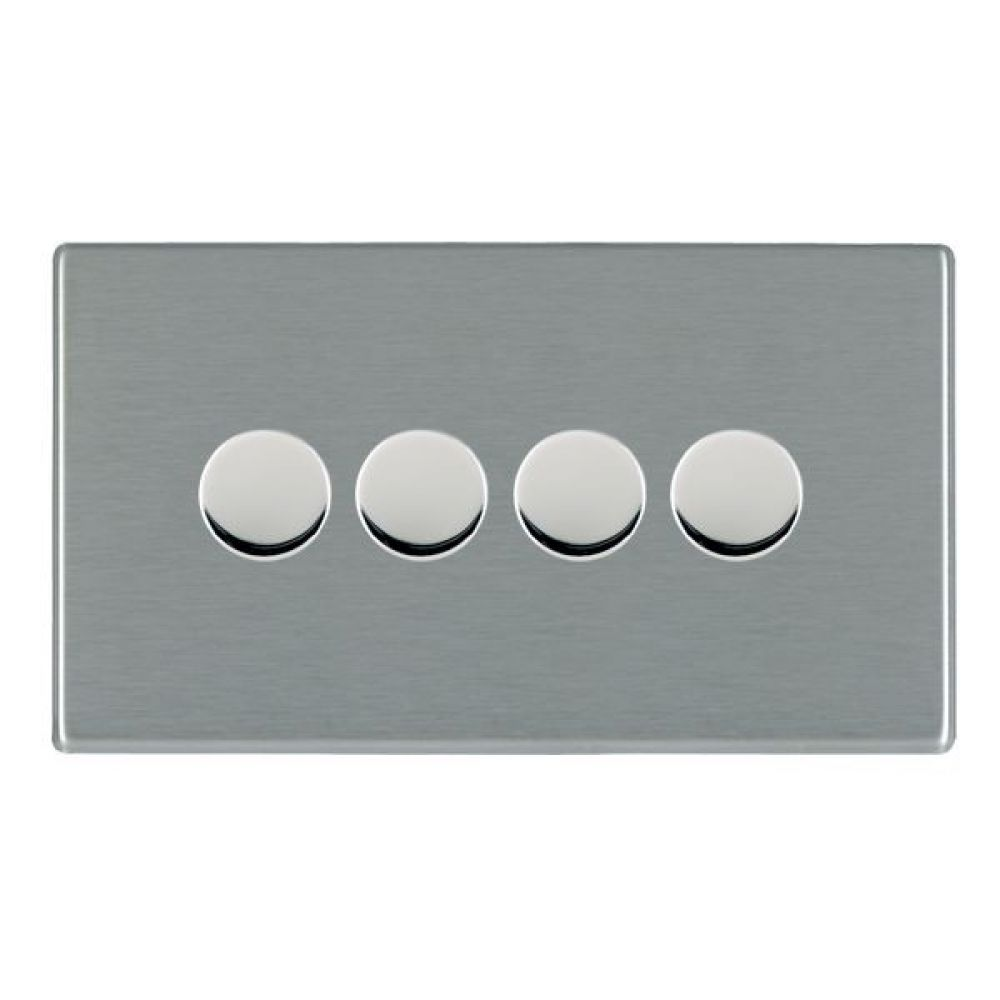 Hamilton Hartland CFX Satin Stainless 4 Gang 400W 2 Way Leading Edge Push On/Off Resitive Dimmer